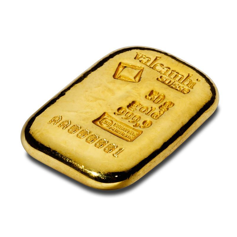 Picture of Valcambi Suisse 50g Cast Gold Bar