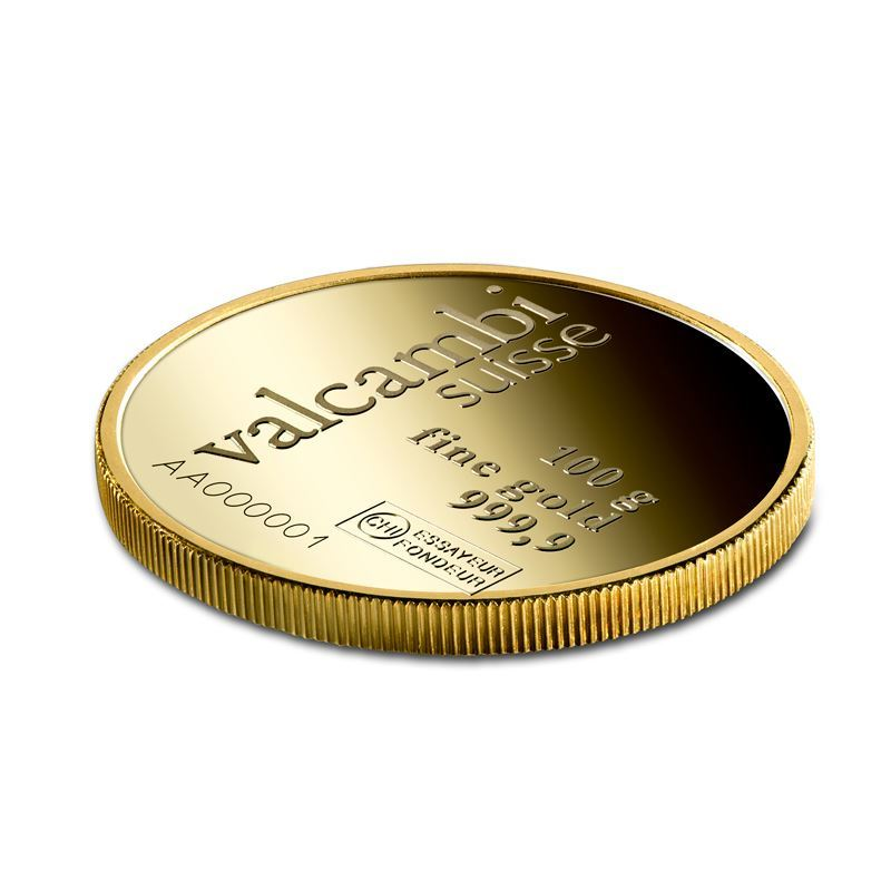 Picture of Valcambi 100g Round Gold Bar