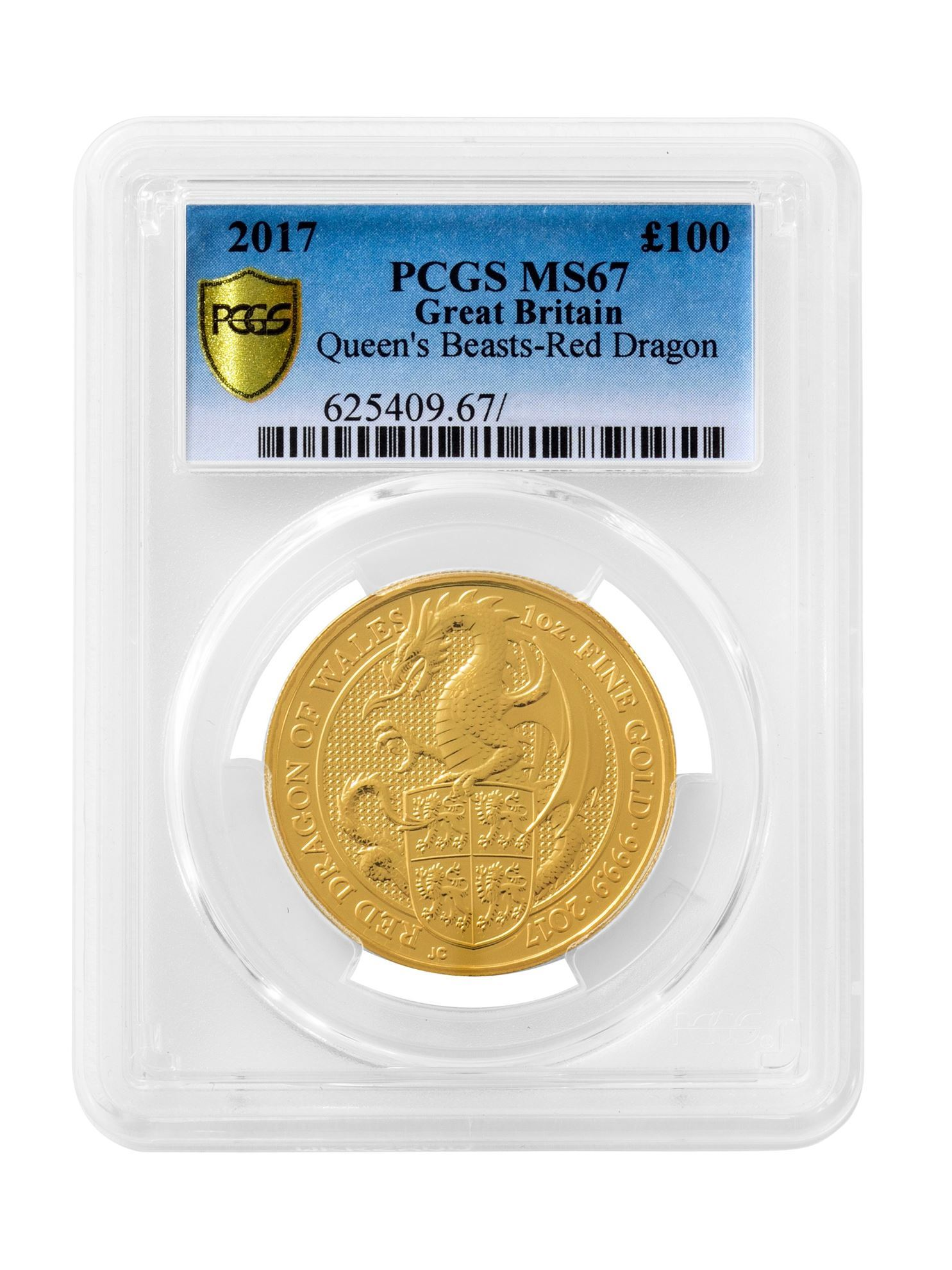 Picture of PCGS 2017 1oz Gold Queen's Beast 'Dragon' MS67