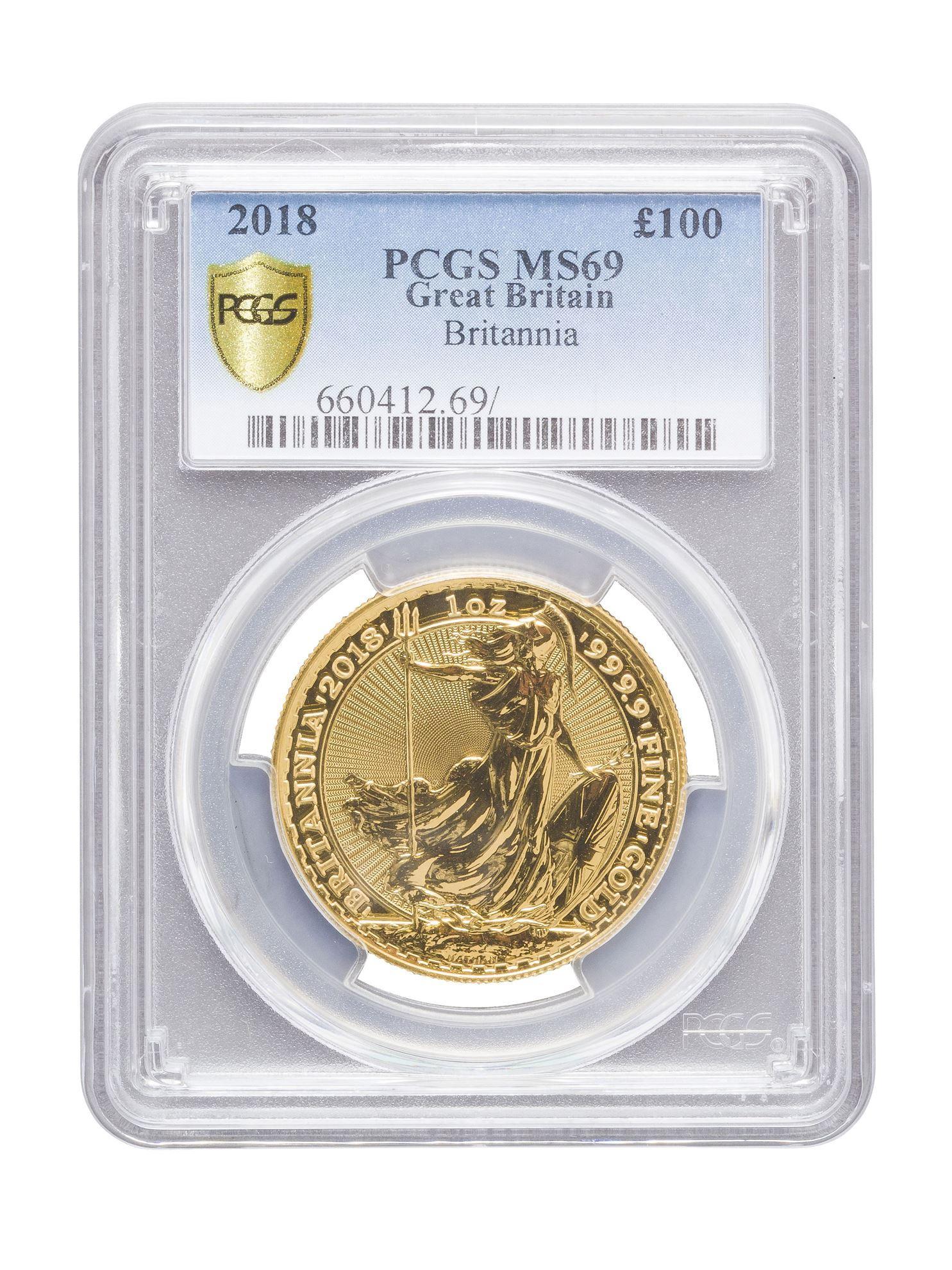 Picture of PCGS 2018 1oz Gold Britannia MS69