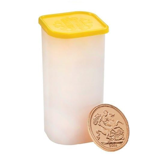 Picture of 25x 2018 22k Gold UK Sovereigns in a Tube