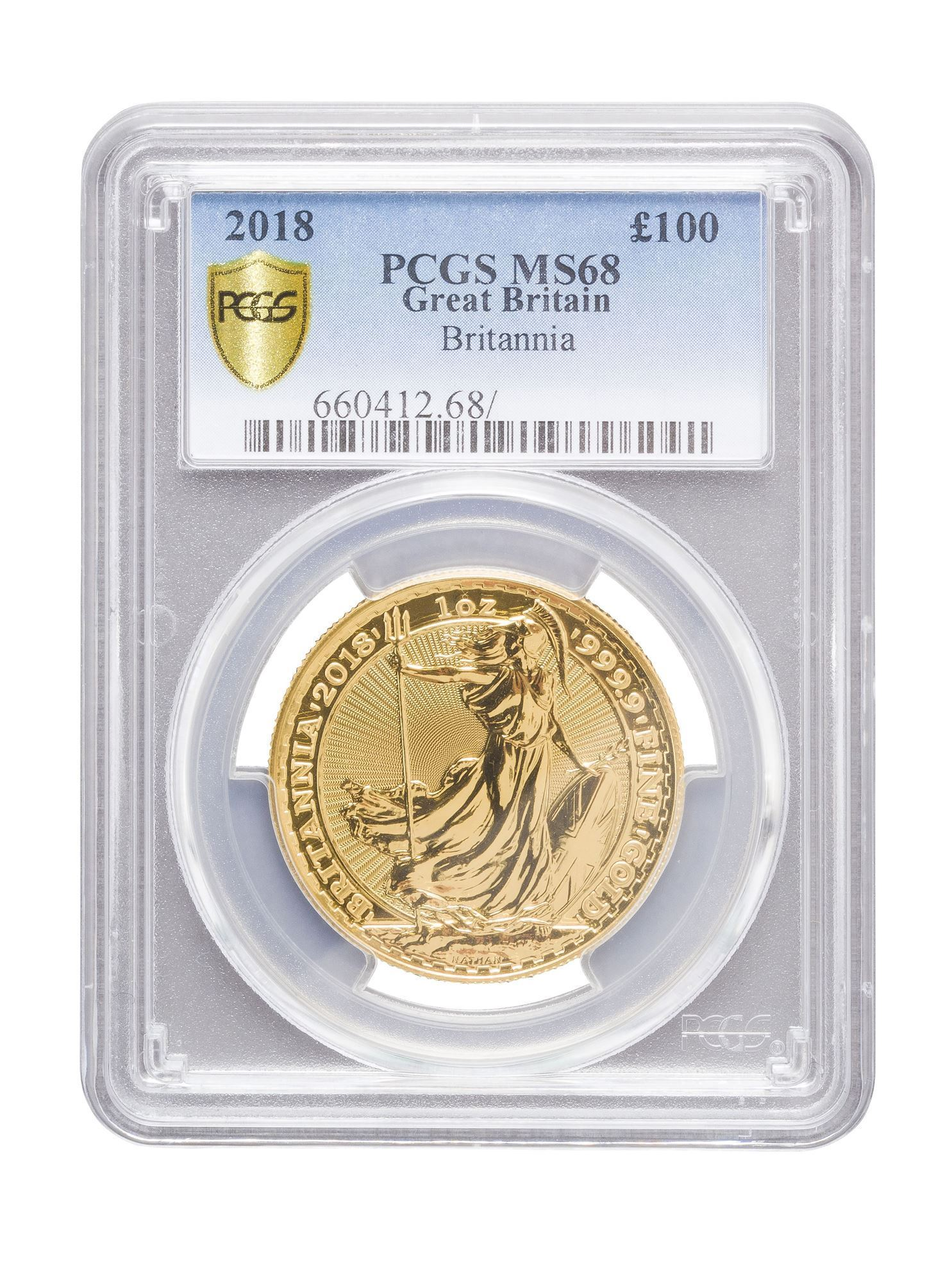 Picture of PCGS 2018 1oz Gold Britannia MS68