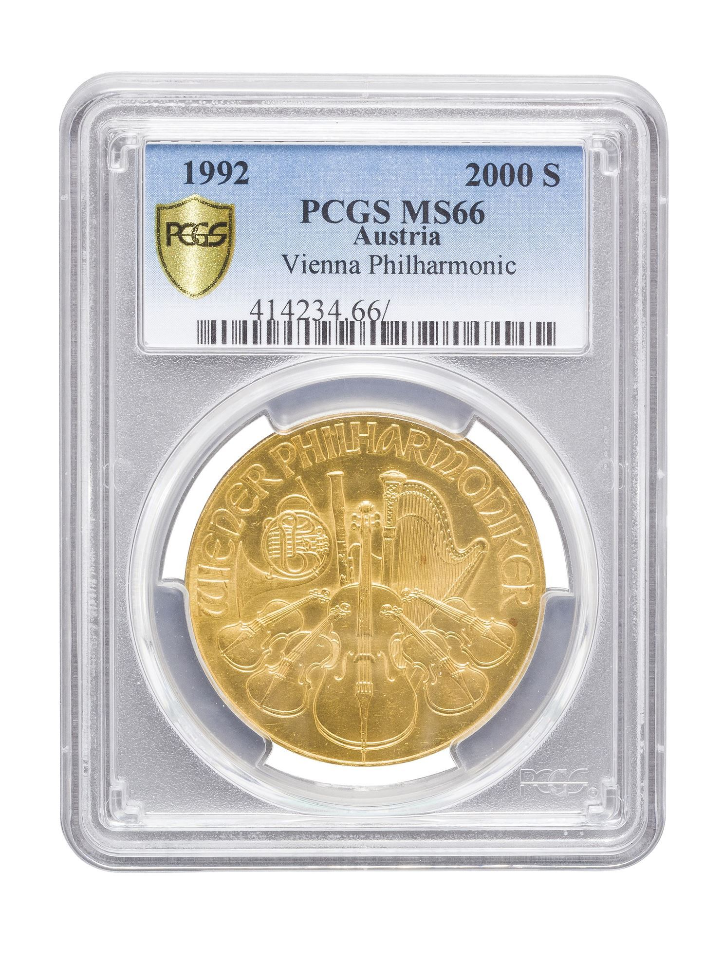 Picture of PCGS 1992 1oz Gold Austrian Philharmonic MS66
