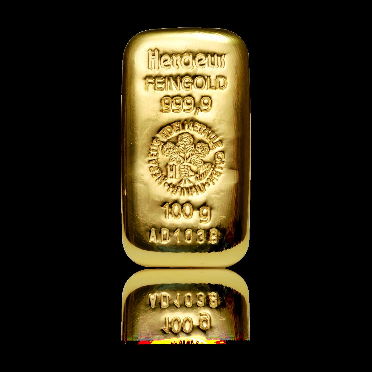 Picture of Heraeus 100g Cast Gold Bar