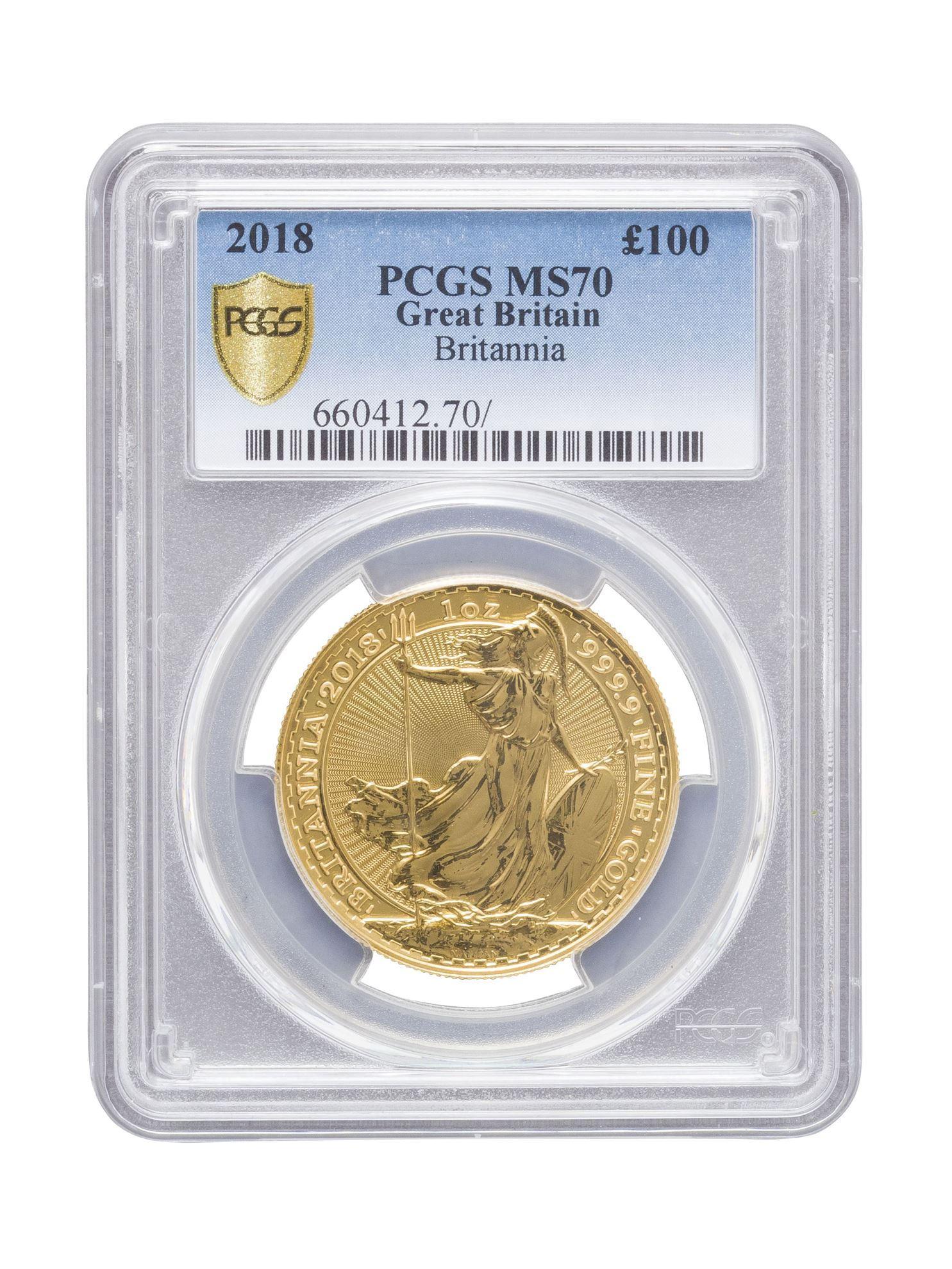 Picture of PCGS 2018 1oz Gold Britannia MS70