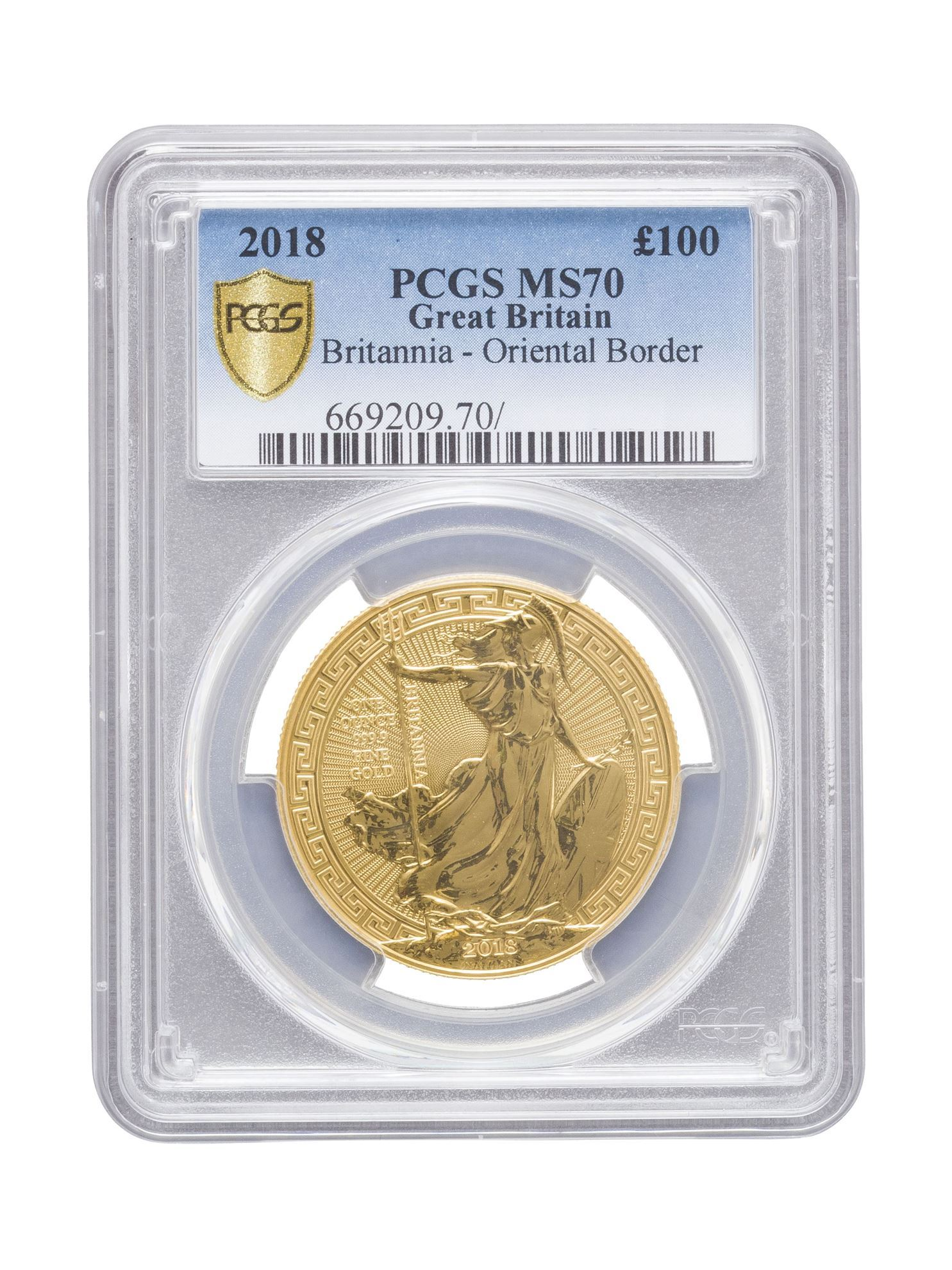 Picture of PCGS 2018 1oz Gold Britannia Oriental Border MS70