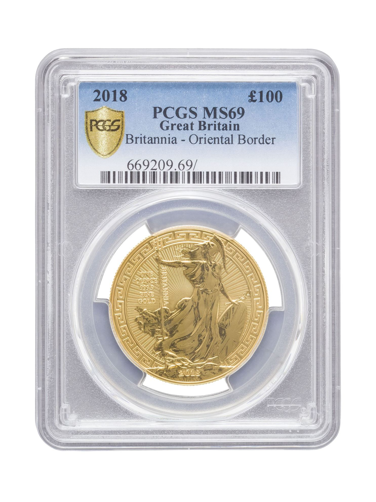 Picture of PCGS 2018 1oz Gold Britannia Oriental Border MS69