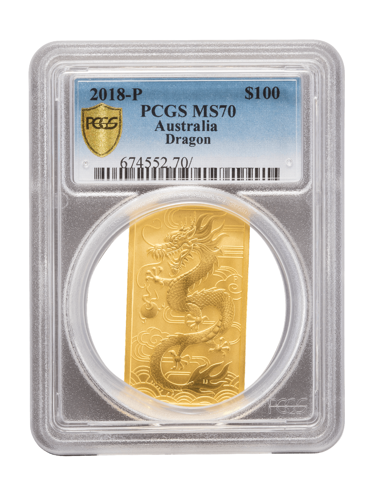 Picture of PCGS 2018 1oz Gold Australian Dragon MS70
