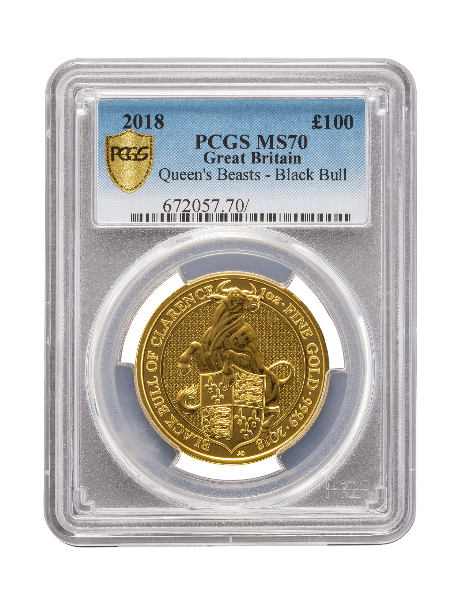 Picture of PCGS 2018 1oz Gold Queen's Beast 'Black Bull' MS70