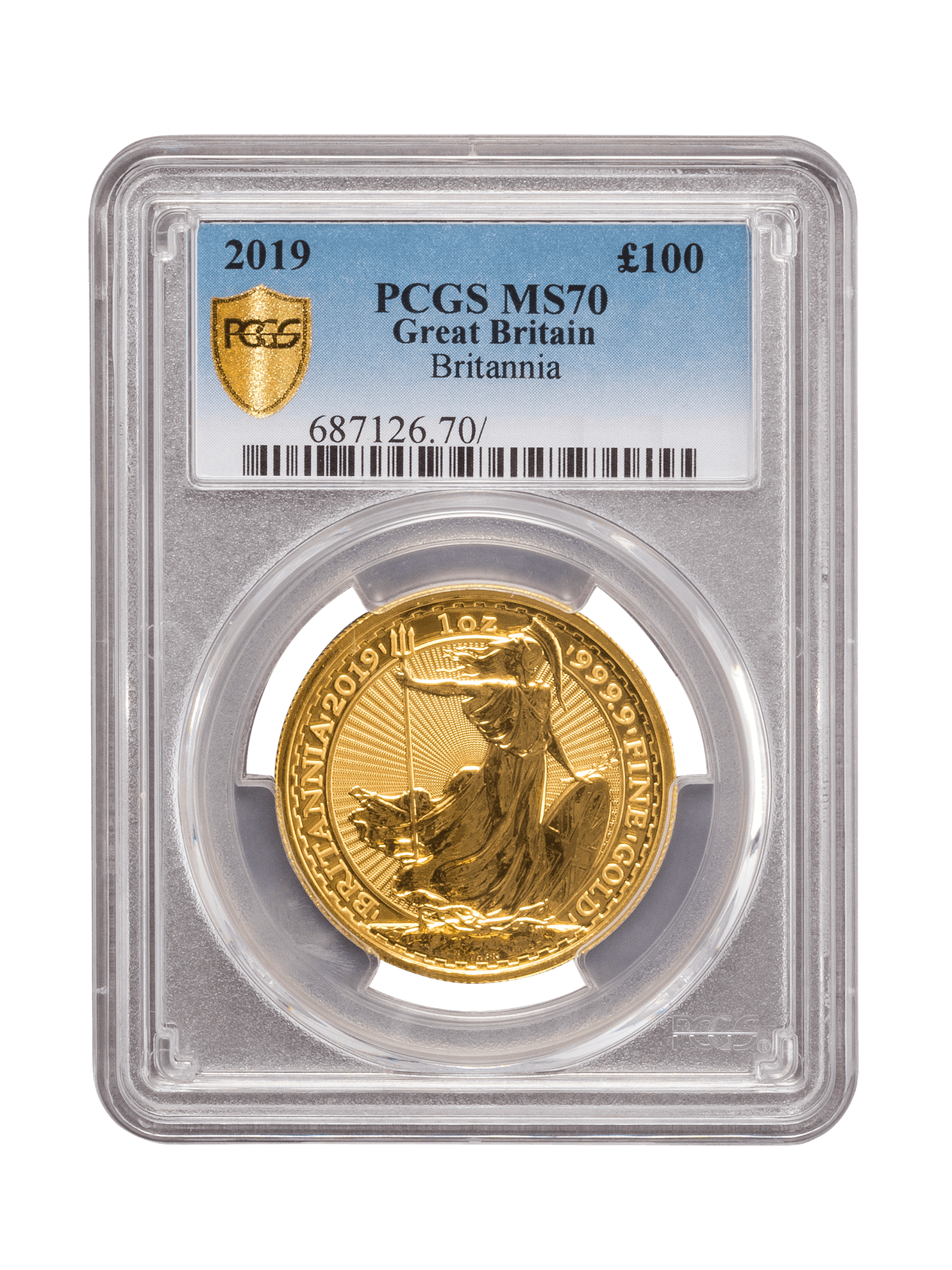 Picture of PCGS 2019 1oz Gold Britannia MS70