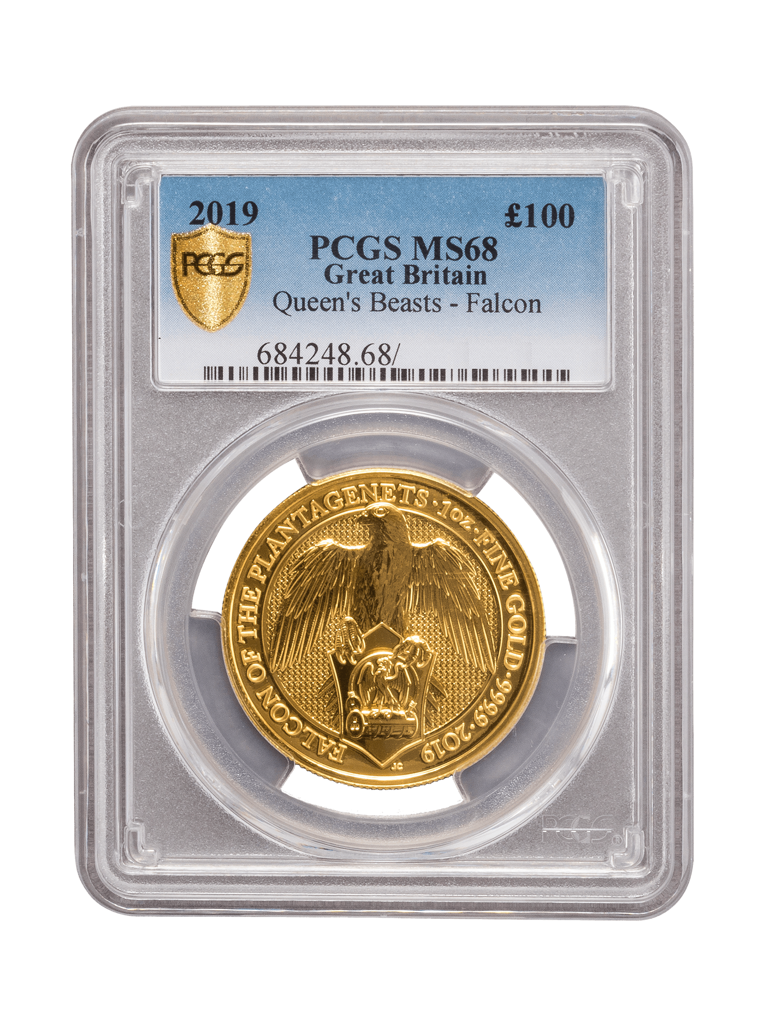 Picture of PCGS 2019 1oz Gold Queen's Beast 'Falcon' MS68