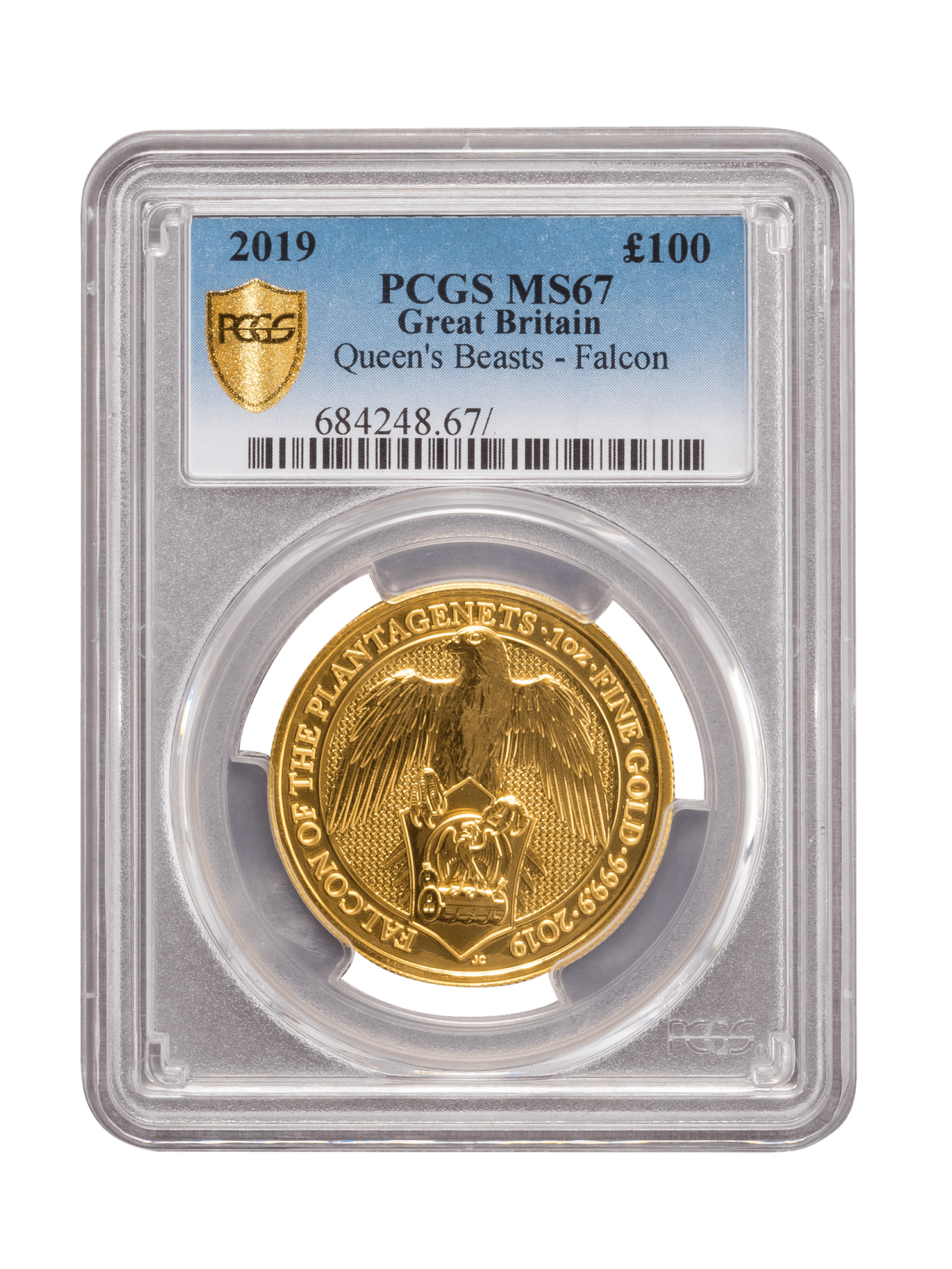Picture of PCGS 2019 1oz Gold Queen's Beast 'Falcon' MS67