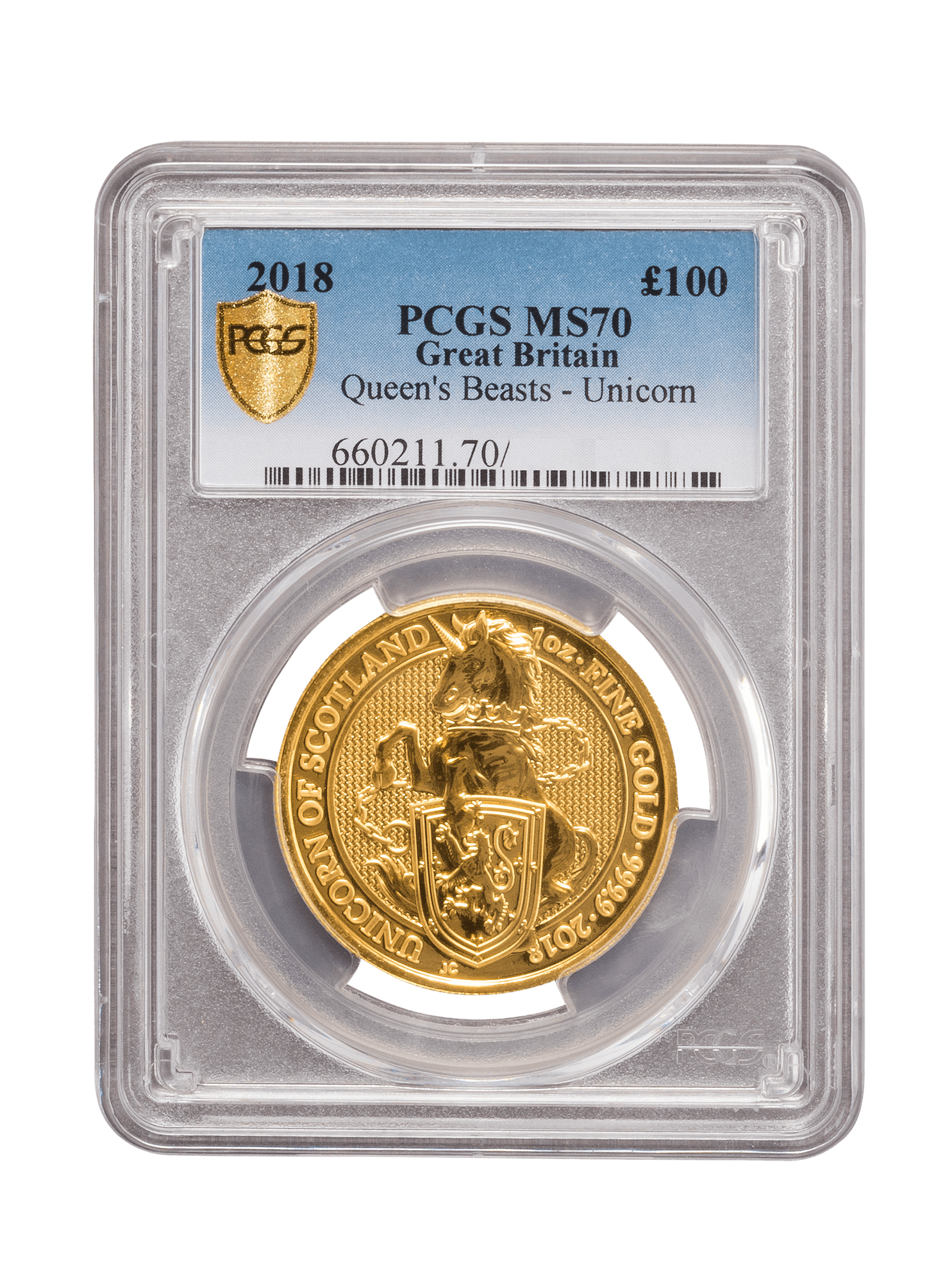 Picture of PCGS 2018 1oz Gold Queen's Beast 'Unicorn' MS70