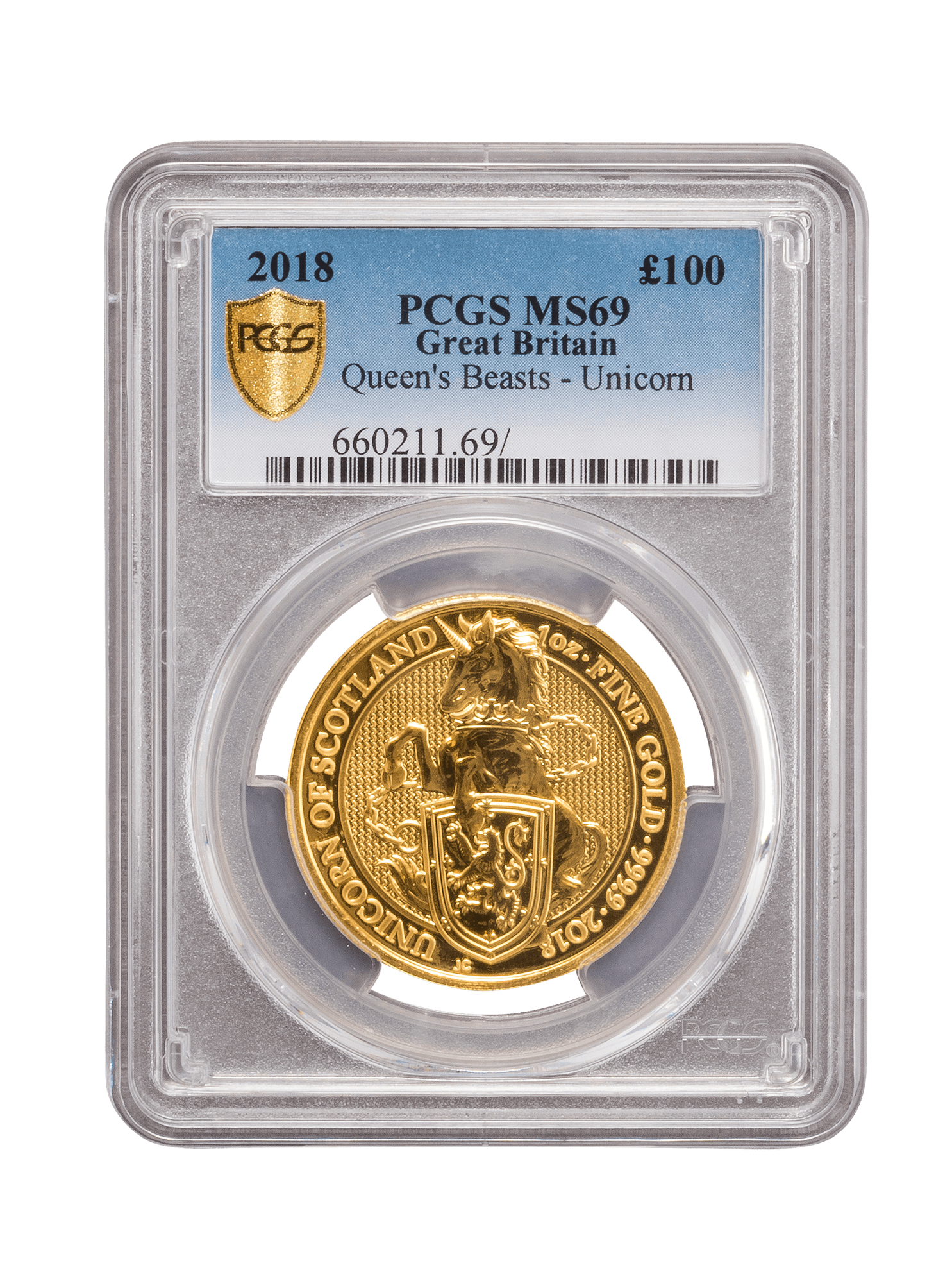 Picture of PCGS 2018 1oz Gold Queen's Beast 'Unicorn' MS69