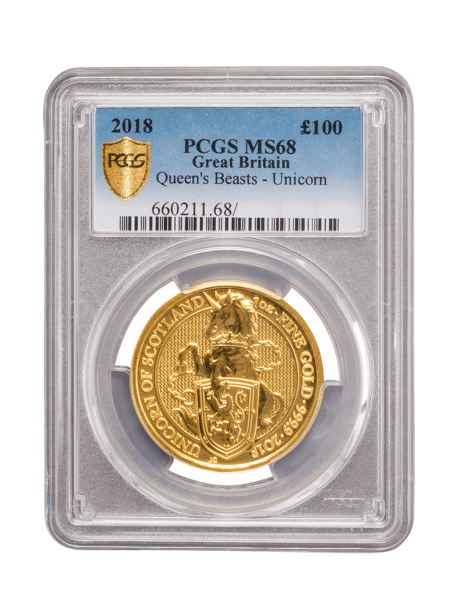 Picture of PCGS 2018 1oz Gold Queen's Beast 'Unicorn' MS68