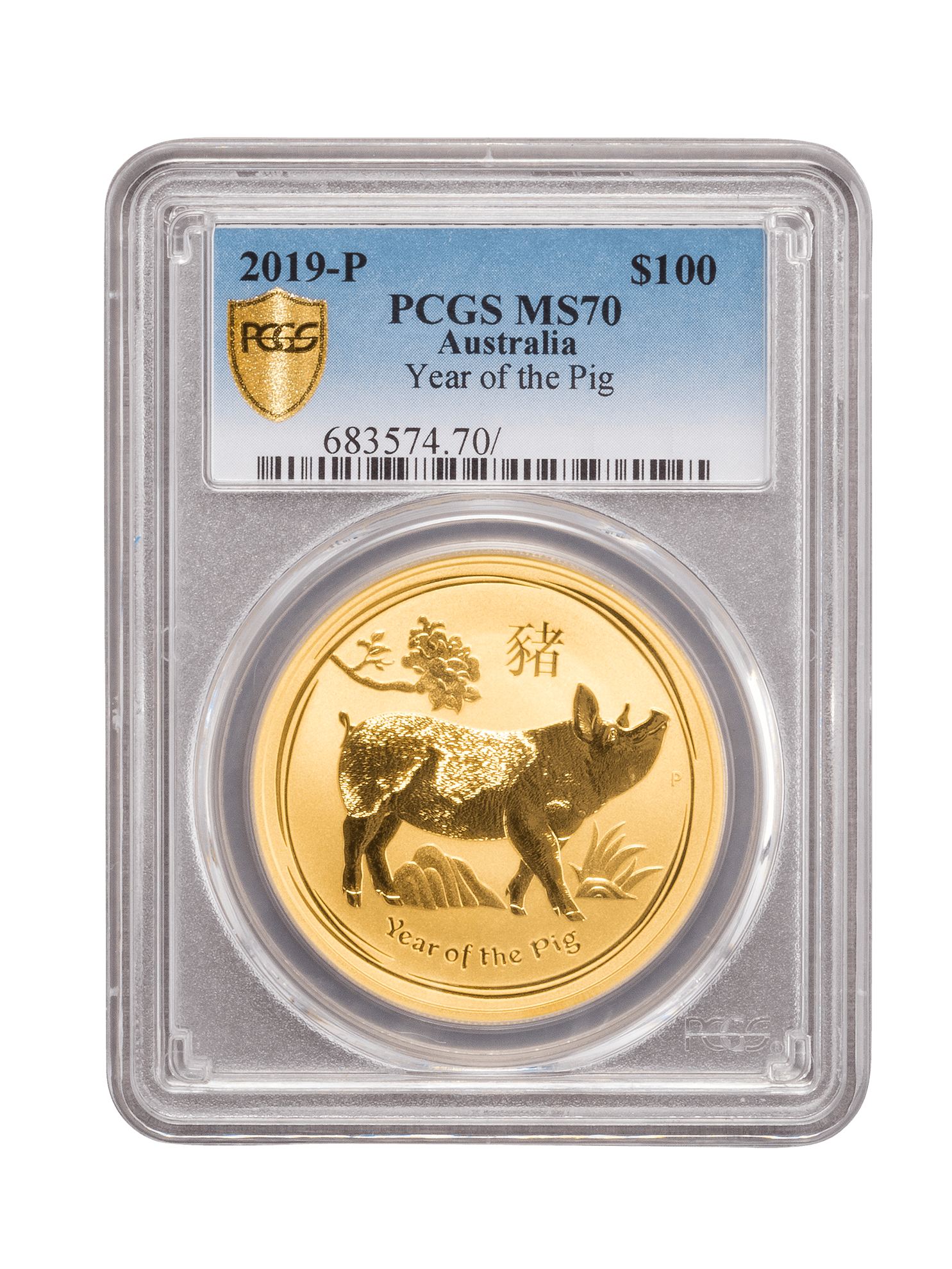 Picture of PCGS 2019 1oz Gold Australian Lunar I 'Year of the Pig' MS70