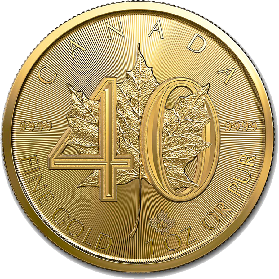 Picture of 2019 1oz 24k Gold Canadian Maple Leaf 40th Anniversary