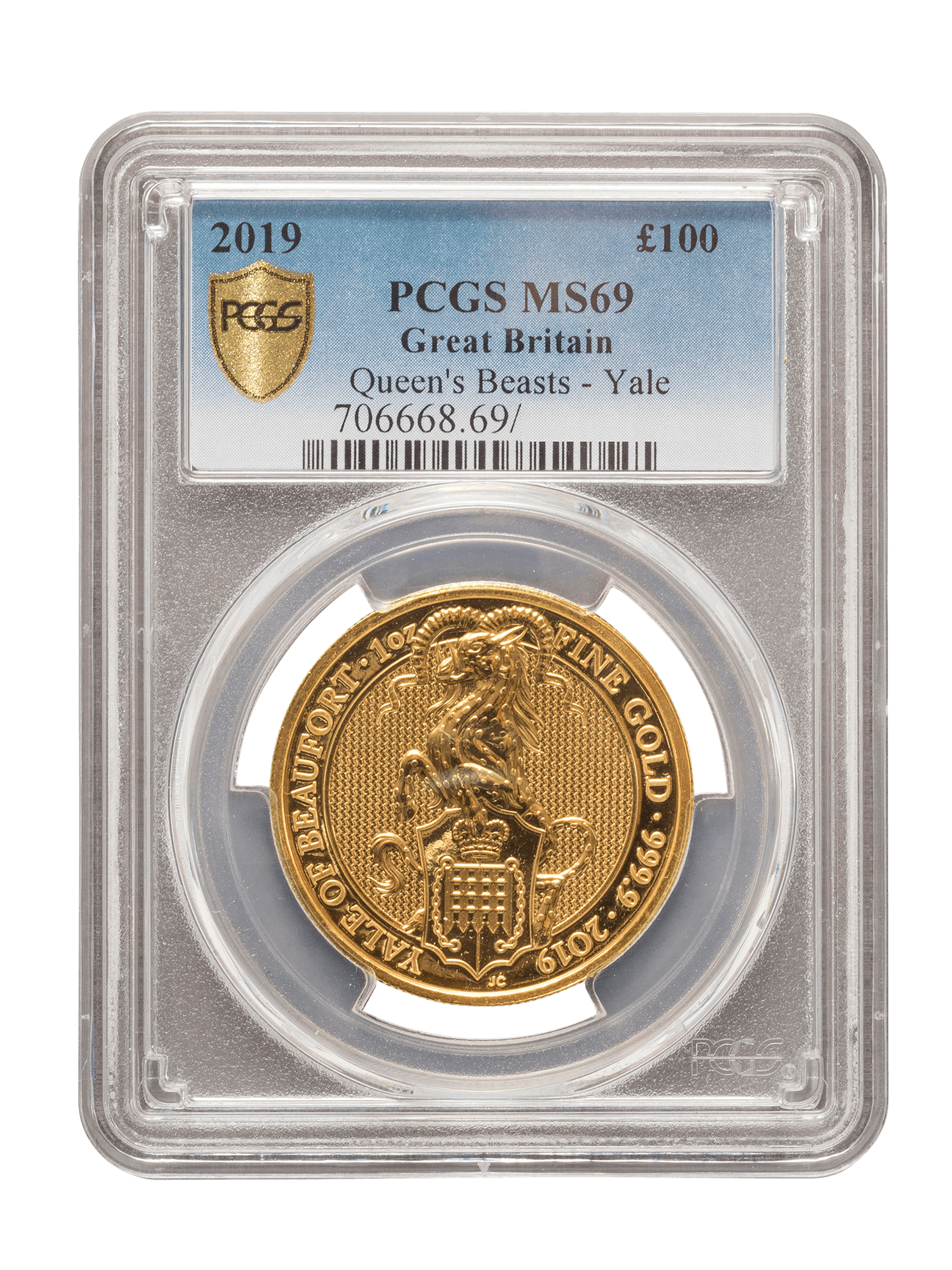 Picture of PCGS 2019 1oz Gold Queen's Beast 'Yale' MS69