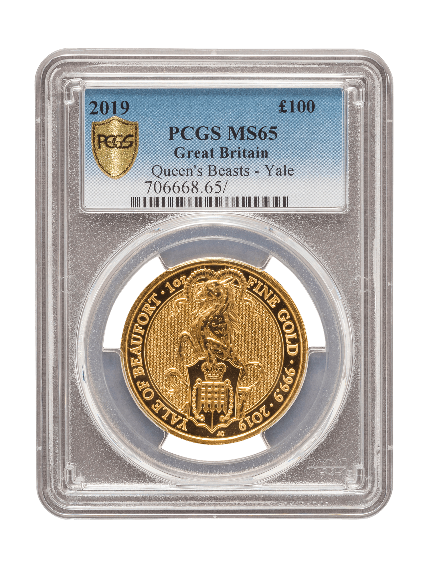 Picture of PCGS 2019 1oz Gold Queen's Beast 'Yale' MS68