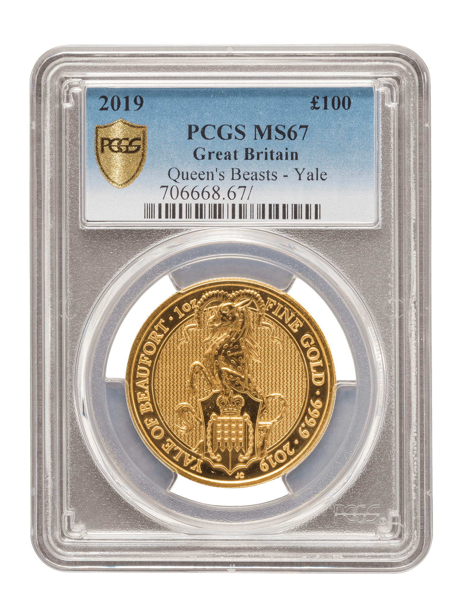 Picture of PCGS 2019 1oz Gold Queen's Beast 'Yale' MS67