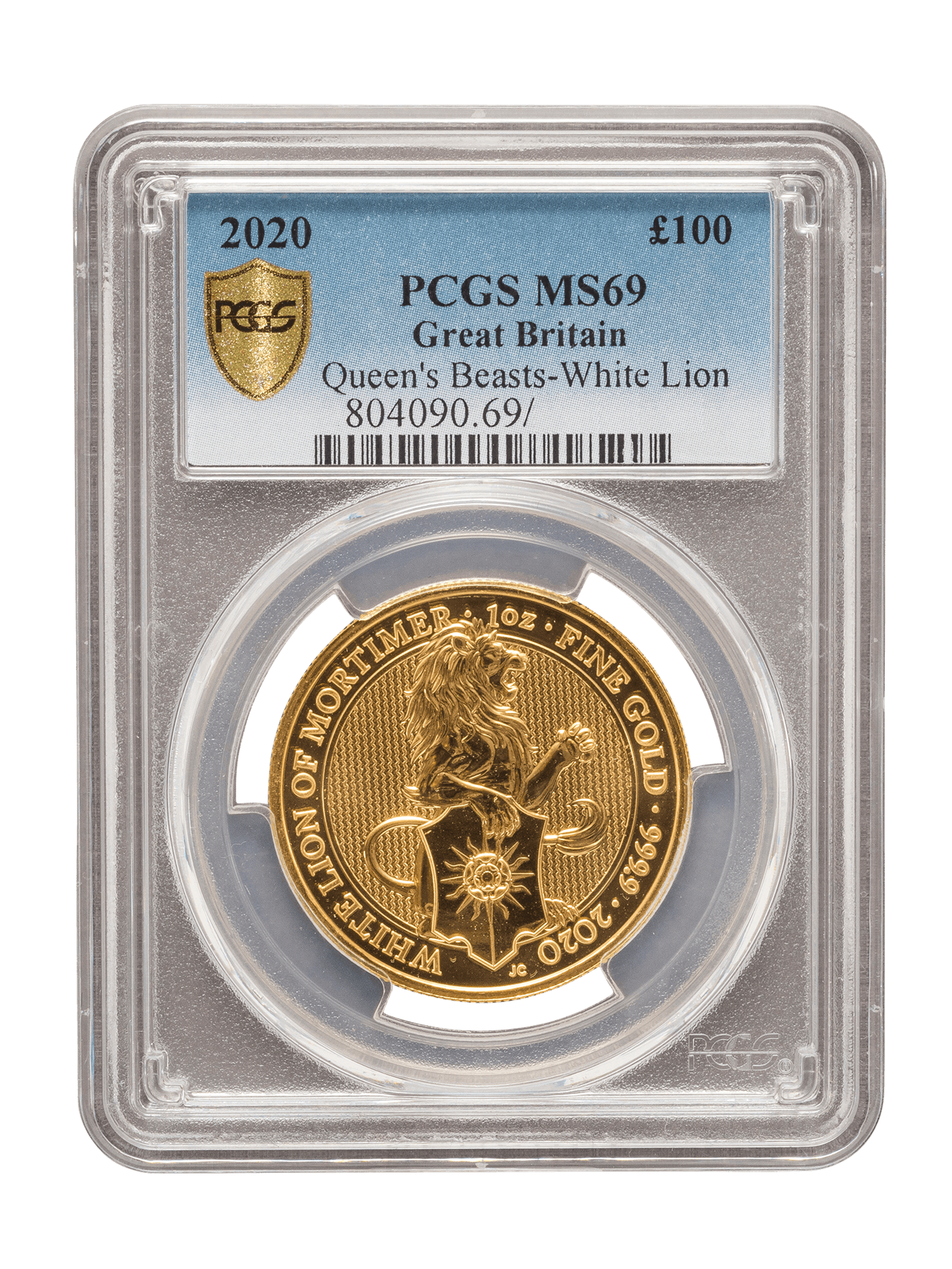 Picture of PCGS 2020 1oz Gold Queen's Beast 'White Lion' MS69