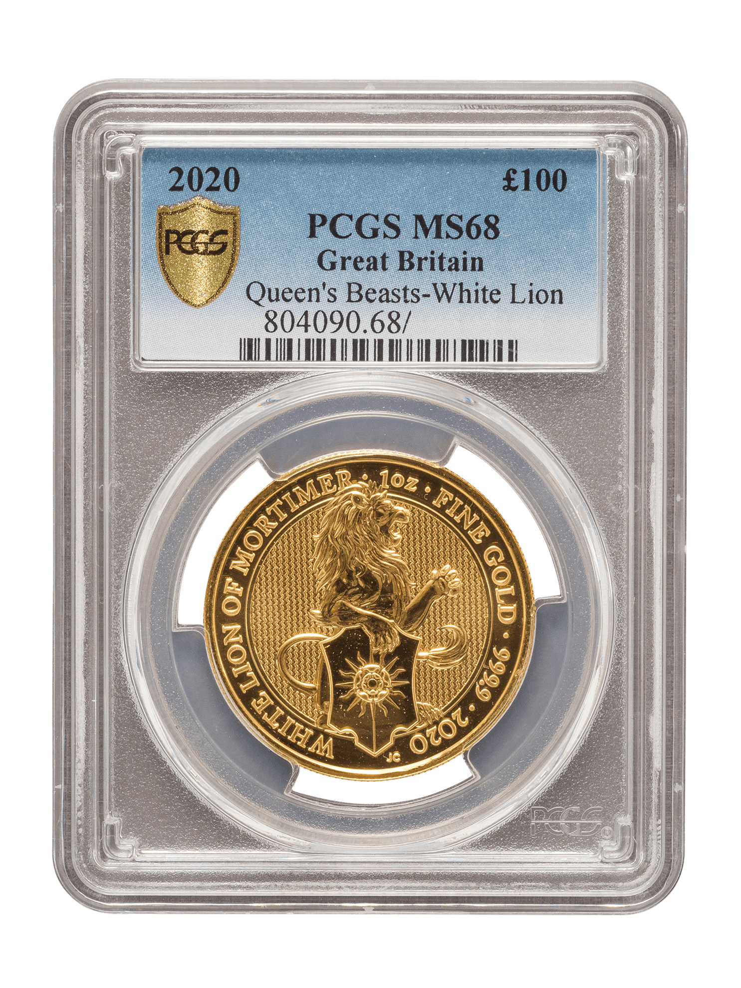 Picture of PCGS 2020 1oz Gold Queen's Beast 'White Lion' MS68