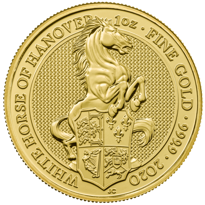 Picture of 2020 1oz 24k Gold UK Queen's Beast 'White Horse of Hanover'