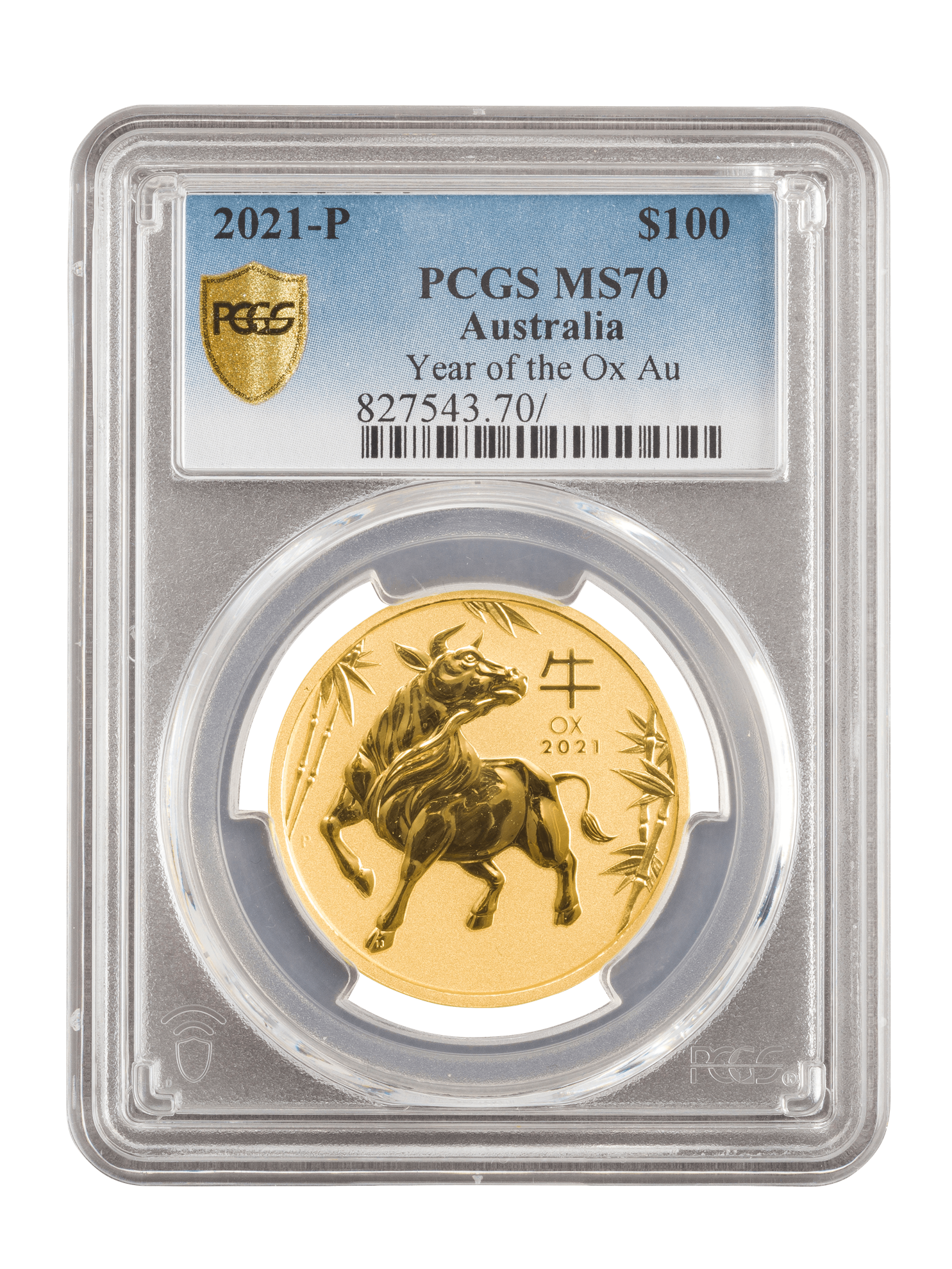 Picture of PCGS 2021 1oz 24k Gold Australian 'Year Of The Ox' MS70