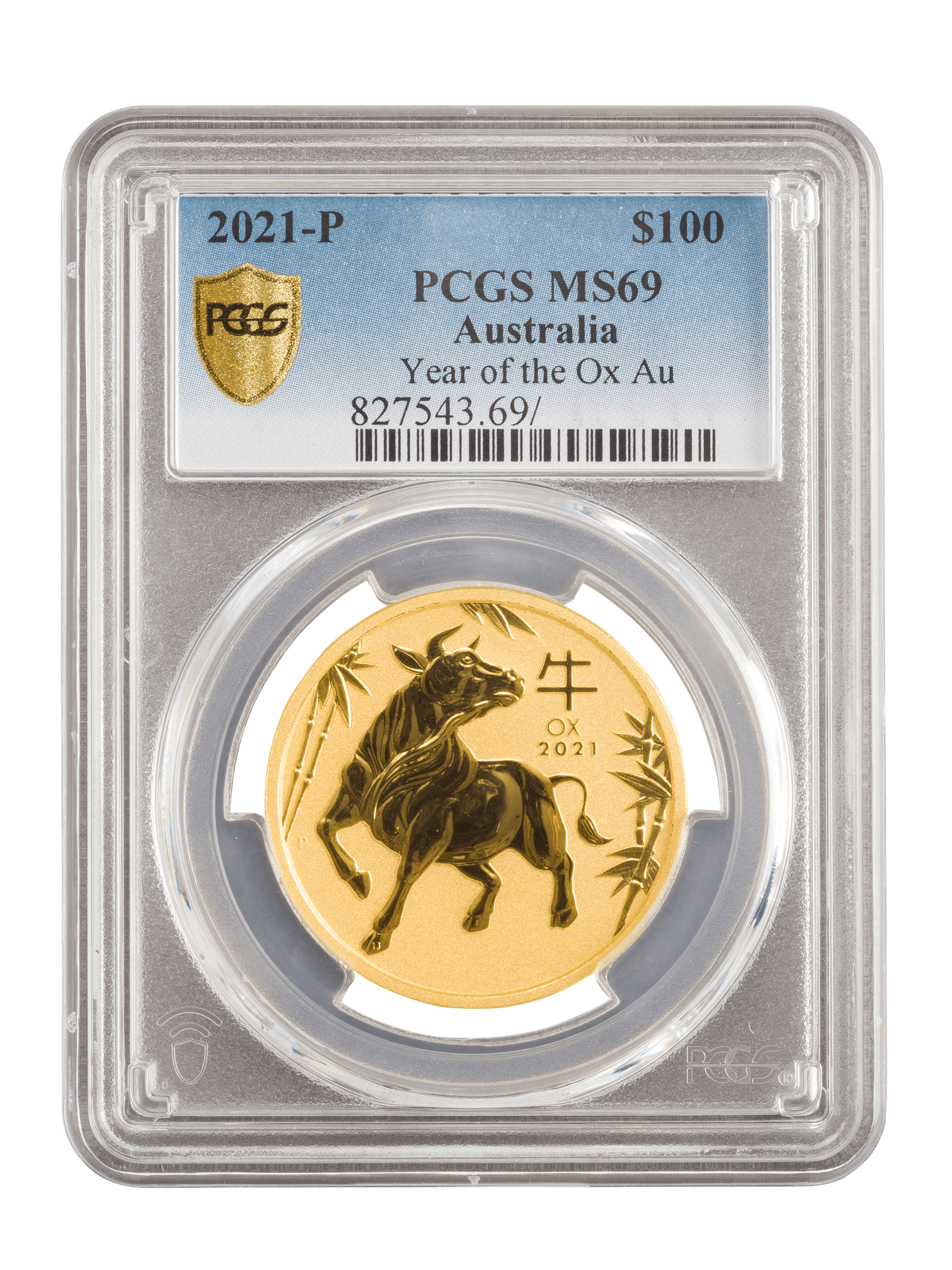 Picture of PCGS 2021 1oz 24k Gold Australian 'Year Of The Ox' MS69