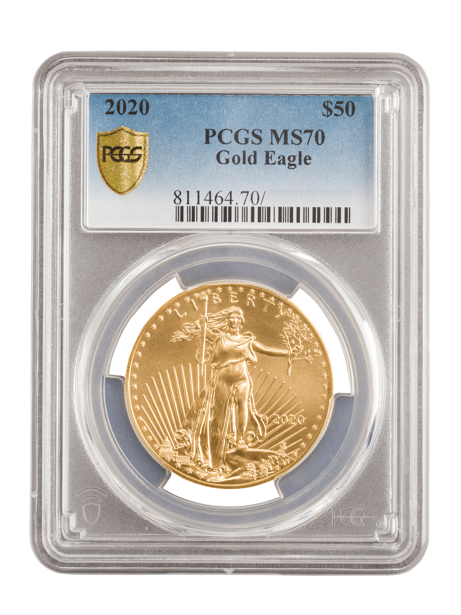Picture of PCGS 2020 1oz 22k Gold American Eagle MS70