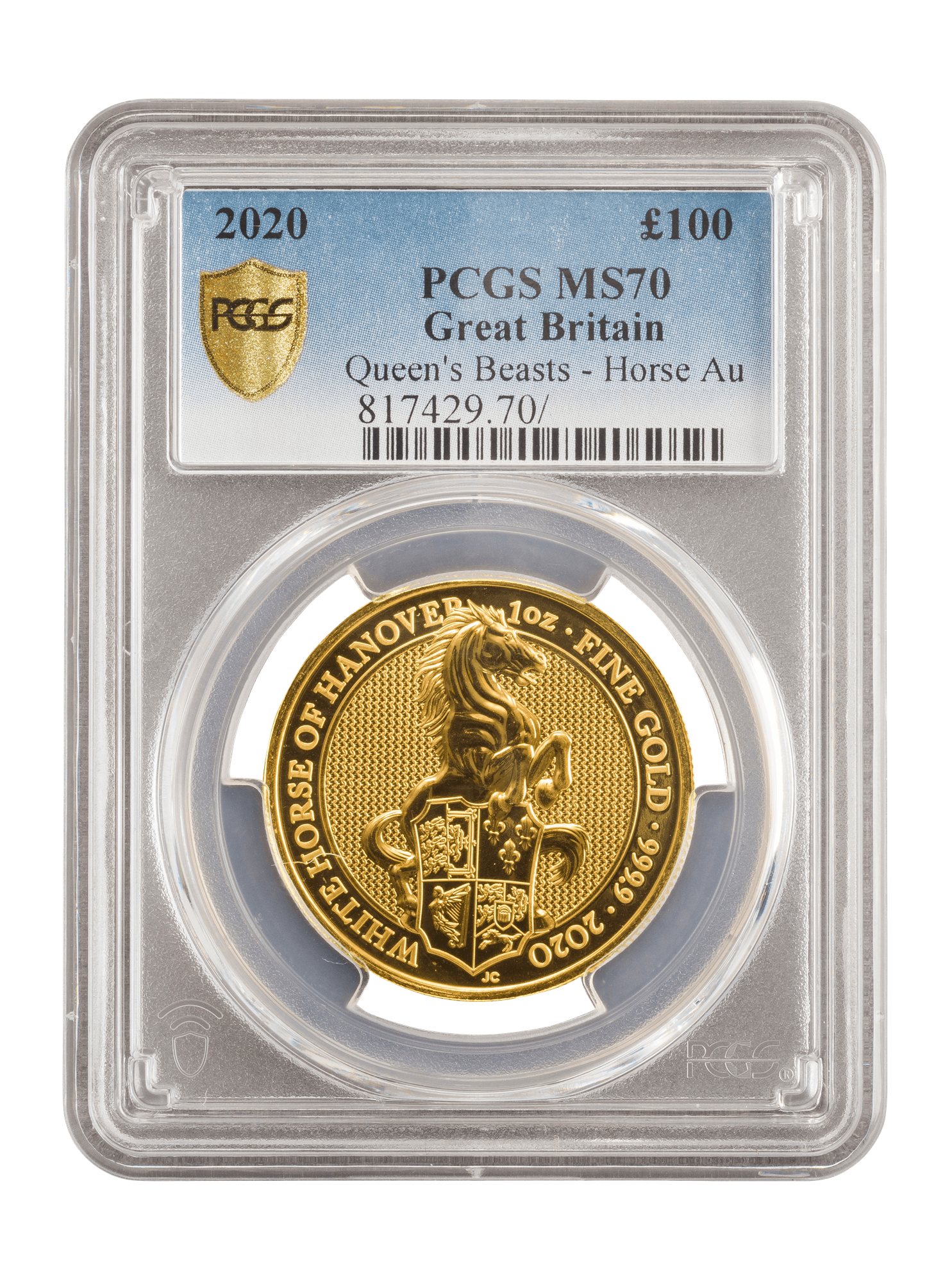 Picture of PCGS 2020 1oz Gold Queen's Beast 'White Horse' MS69