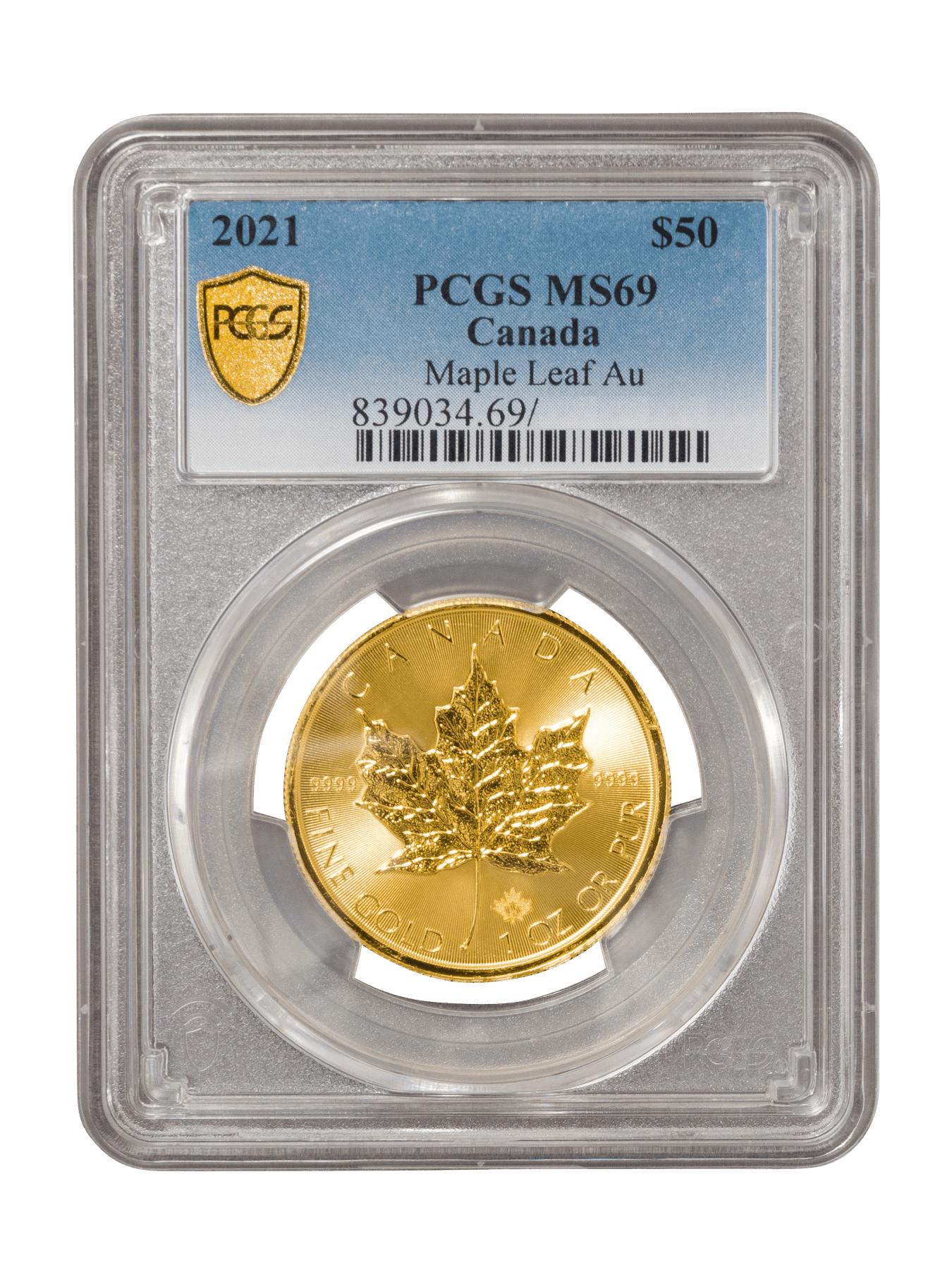 Picture of PCGS 2021 1oz Gold Maple Leaf MS69