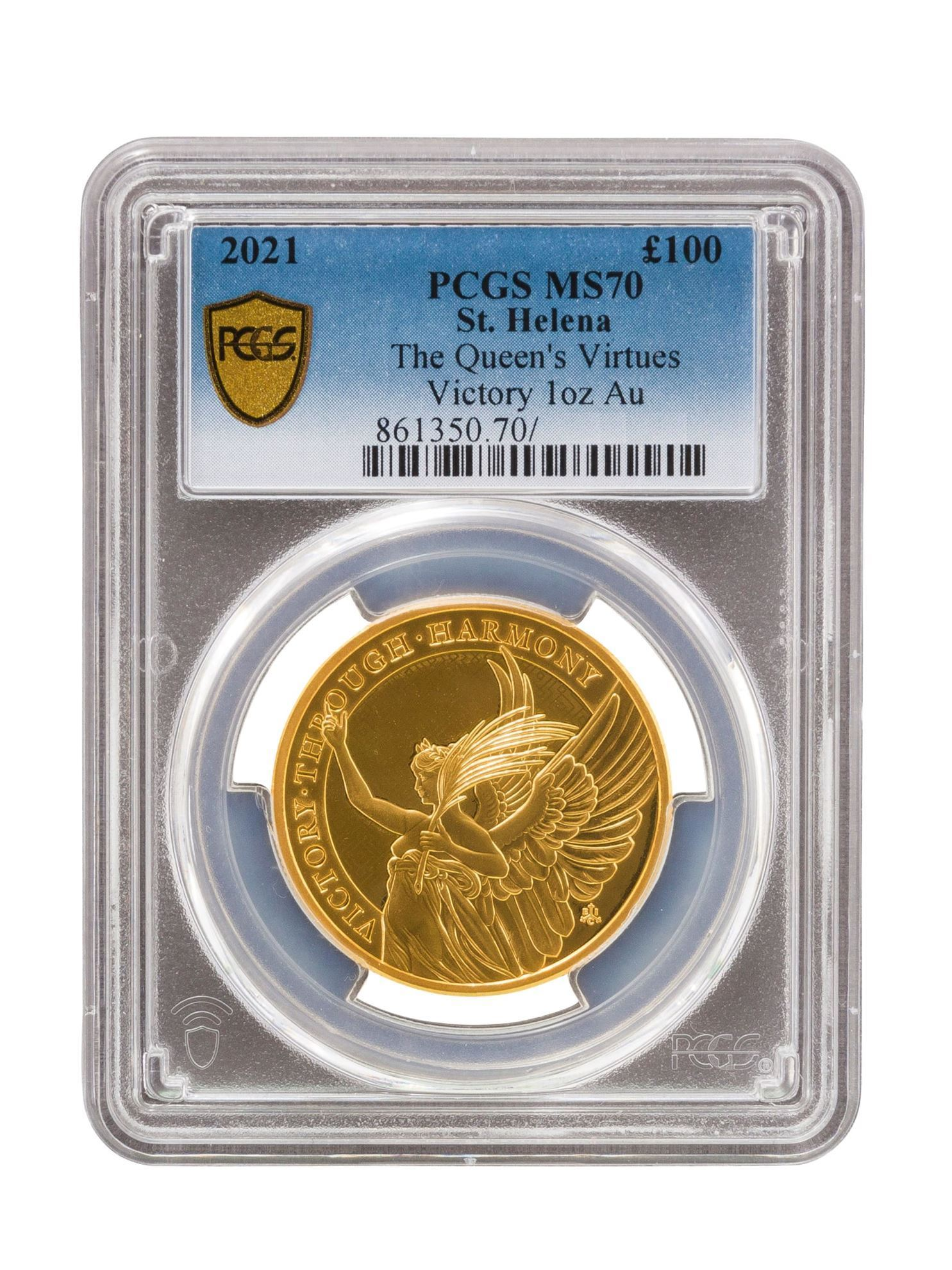 Picture of PCGS 2021 1oz 24k Gold UK Queen's Virtue 'Victory' MS70