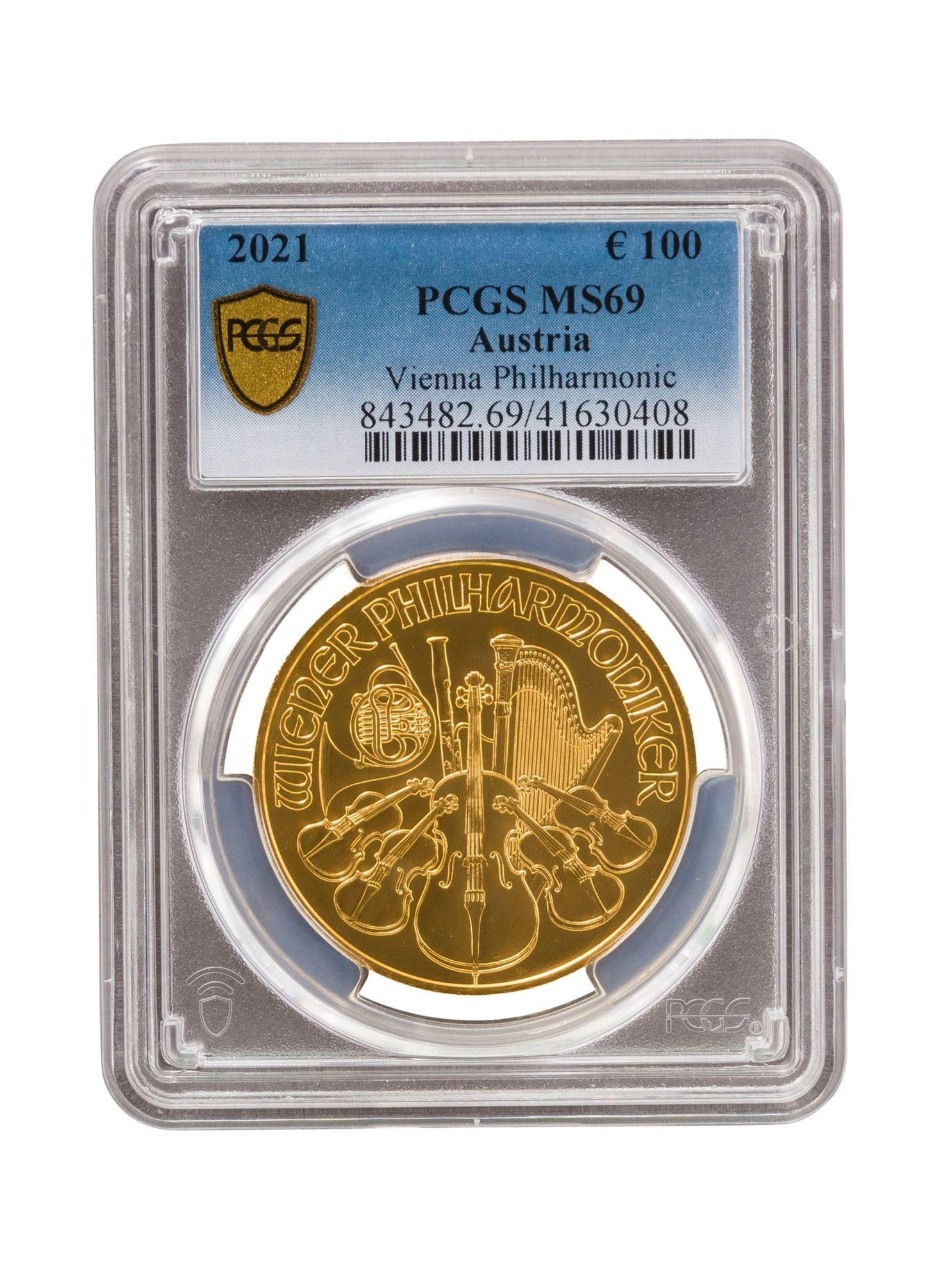 Picture of PCGS 2021 1oz Gold Austrian Philharmonic MS69